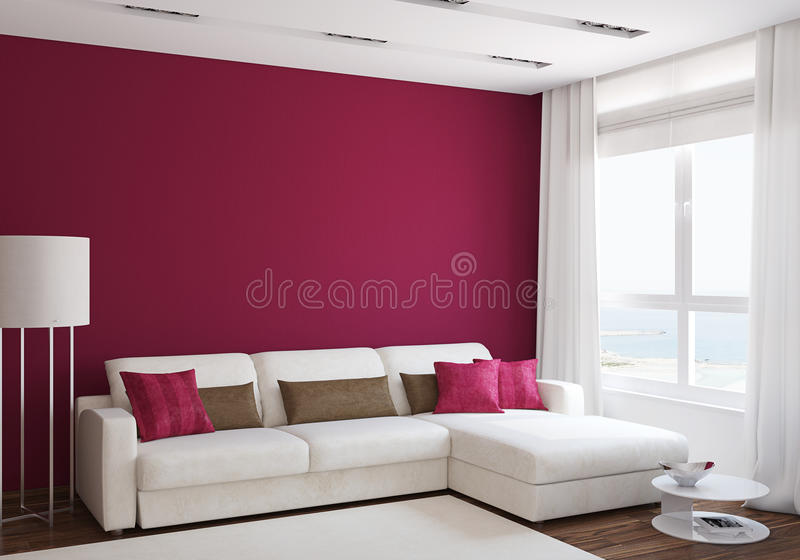 Modern living-room. Interior with white couch near empty red wall. 3d render