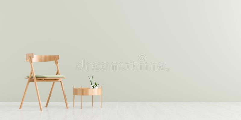 Modern living room with armchair and wooden small coffee table. Scandinavian style furniture design. 3D illustration vector illustration