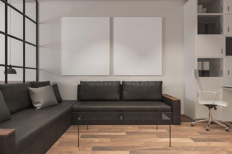 Modern living room with banner vector illustration