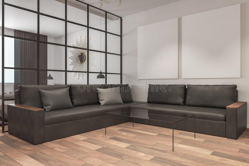 Modern living room with billboard stock illustration