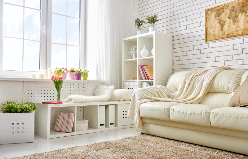 Modern living room. In bright colors stock photo