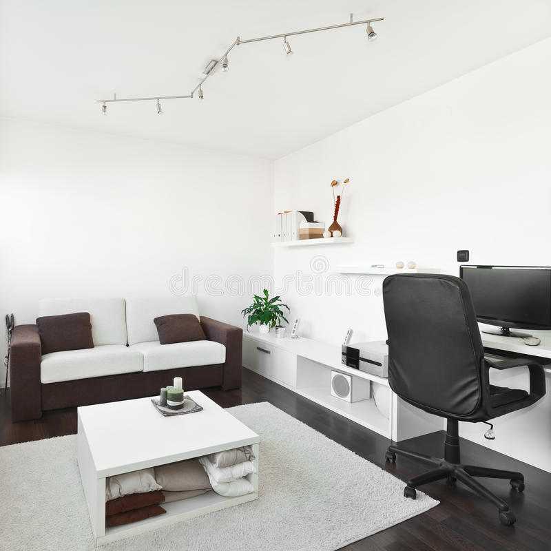 Modern Living Room With Computer Desk Stock Image - Image: 22718251