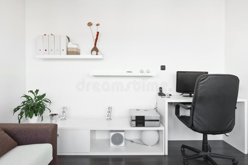 Modern Living Room With Computer Desk Stock Image - Image: 22719887