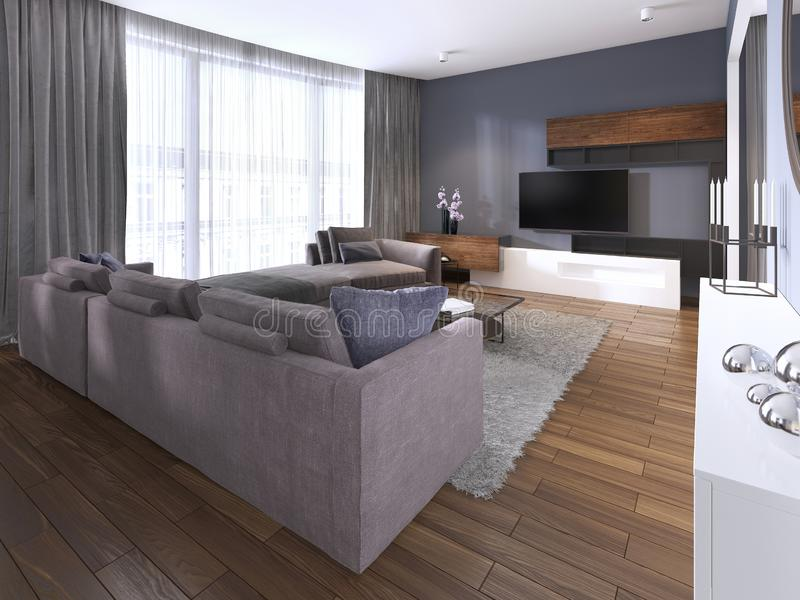 Modern living room in contemporary style with coffee table and TV unit. 3d rendering stock illustration