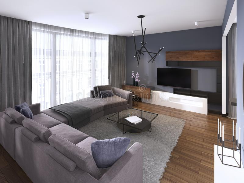 Modern living room in contemporary style with coffee table and TV unit. 3d rendering vector illustration