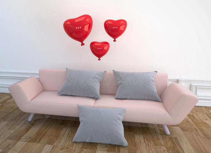 Modern Living Room design - pink sofa, pillow and balloons, wooden floor on empty white wall. 3D rendering. Mock up Modern Living Room design - pink sofa, pillow royalty free illustration
