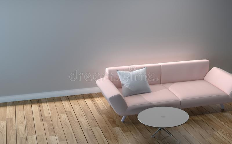 Modern Living Room design - pink sofa, pillow and table, wooden floor on empty white wall. 3D rendering. Mock up Modern Living Room design - pink sofa, pillow vector illustration