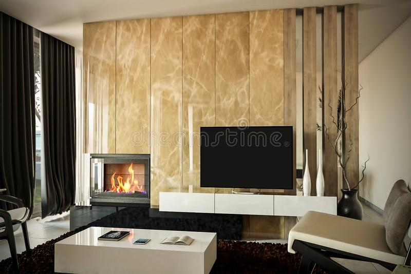 Modern living room with a fireplace. This is 3d rendering so if you want some modifications to the scene change color scheme or ha stock images