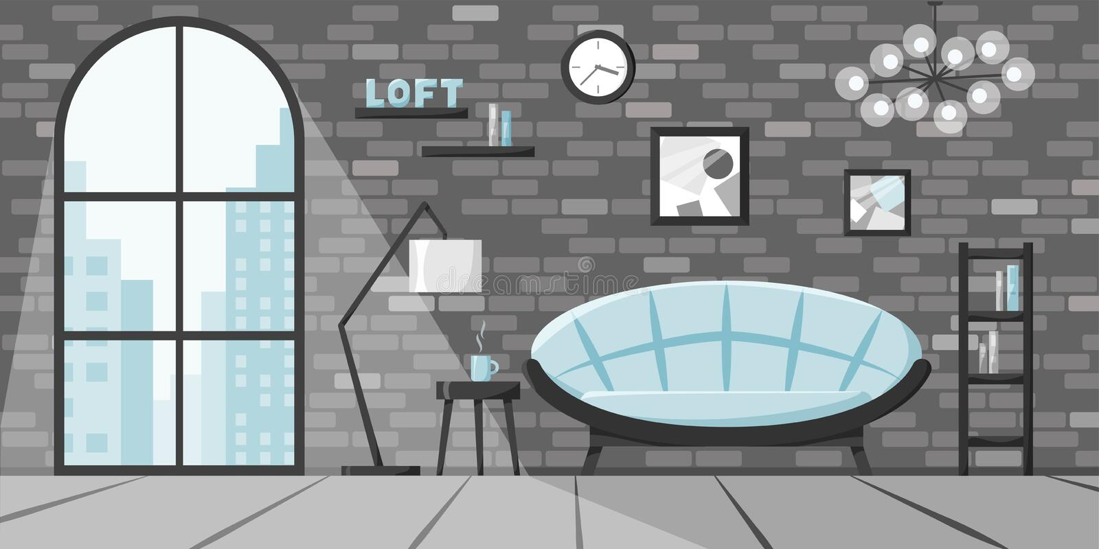 Modern living room in flat style, loft interior concept, apartment in city with big window and brick wall. Vector. Illustration of home with sofa, lamp, books vector illustration