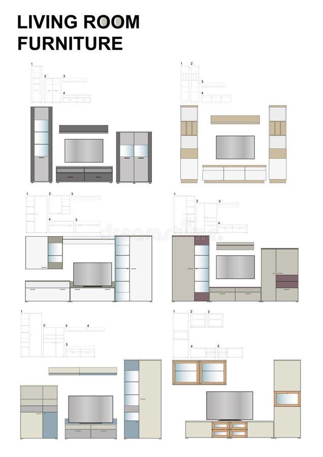 Modern living room, furniture compositions. Modern living room furniture, range of 4 sets of miniature models compositions. TV stands, highboards, lowboards vector illustration
