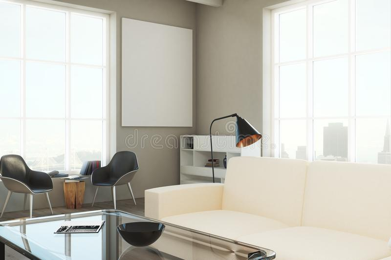 Download Modern Living Room With Empty Banner Stock Illustration