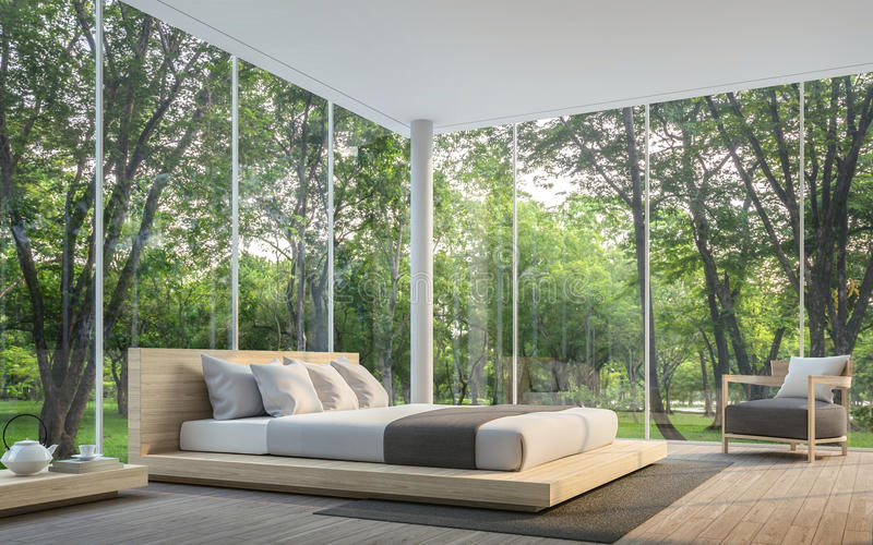 Modern living room with garden view 3d rendering Image. There are large window overlooking the surrounding garden and nature and finished with wooden furniture stock illustration