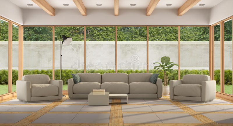 Modern Living room of a holiday villa stock illustration