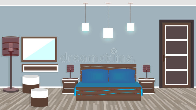 Modern living room in hotel in flat style royalty free illustration