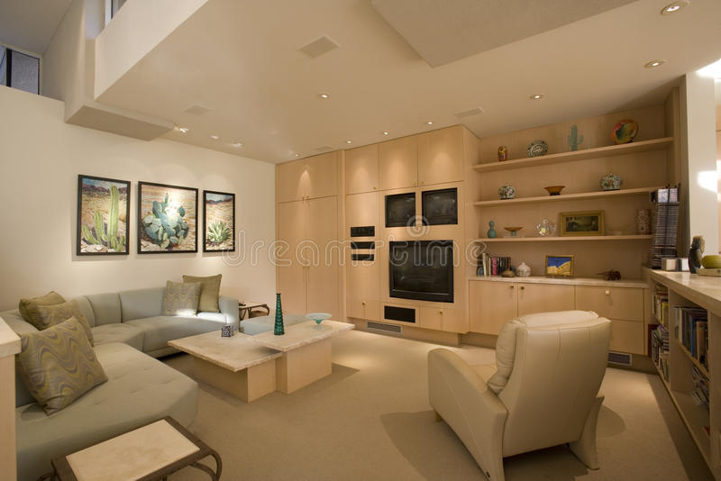 Modern Living Room In House royalty free stock photo