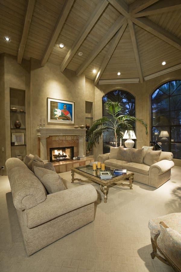 Modern Living Room In House stock photo