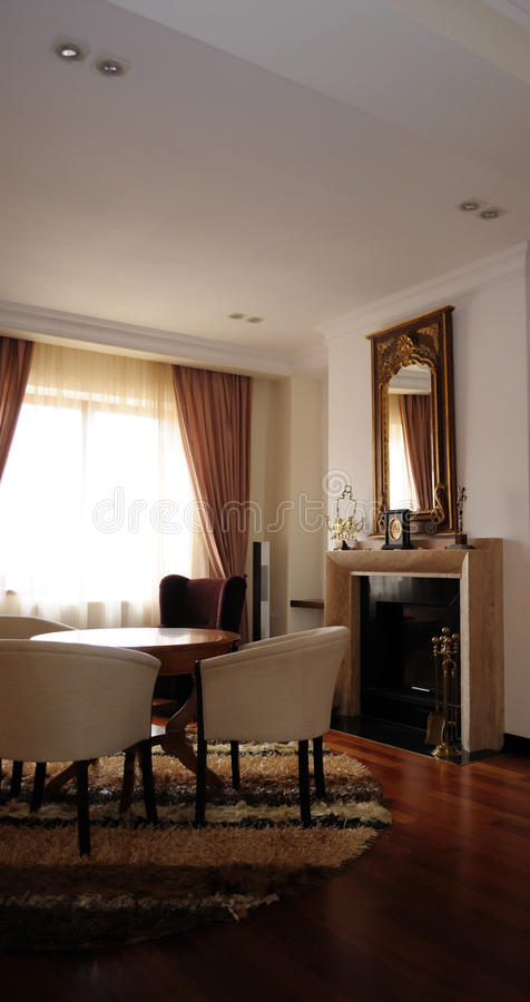 Modern living room interior. This photograph represent a rich modern living room interior with fireplace in classic style stock photography