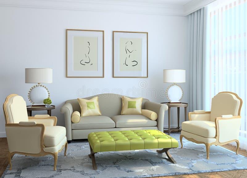 Modern living-room interior. stock illustration