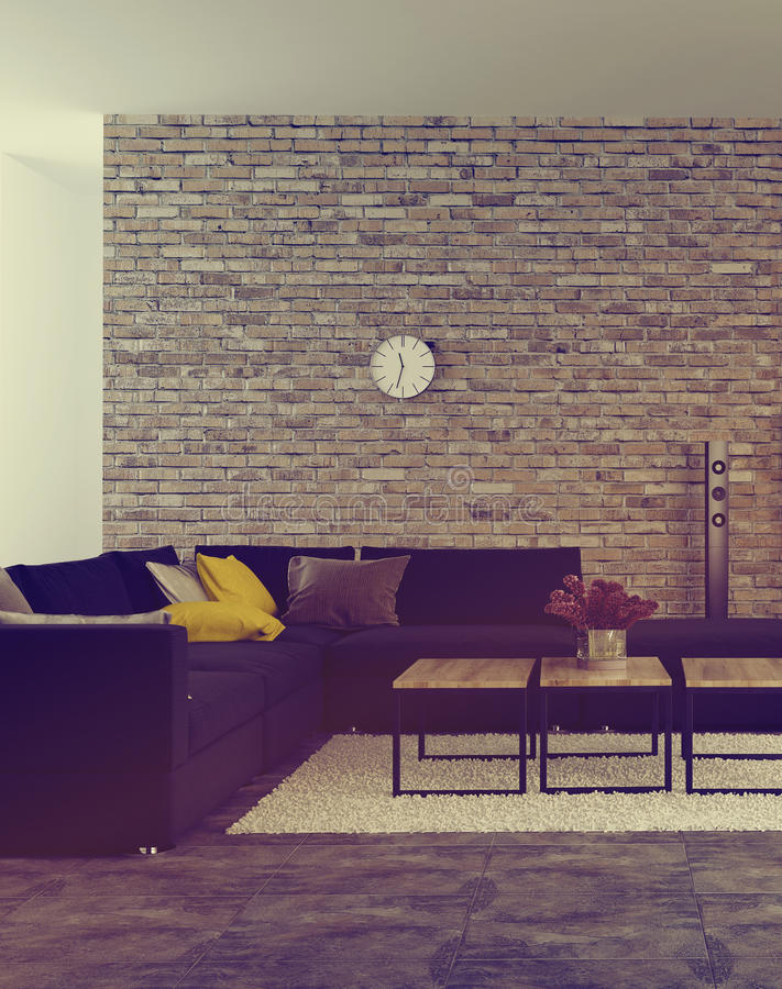 Modern living room interior with accent brick wall. And an upholstered corner lounge suite in front of windows with scattered cushions on the sofa and flowers royalty free stock image