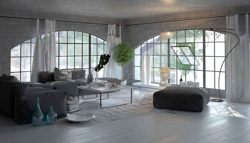 Modern living room interior with arched windows. Modern living room interior with large arched windows overlooking a garden with stylish grey and white decor and stock illustration