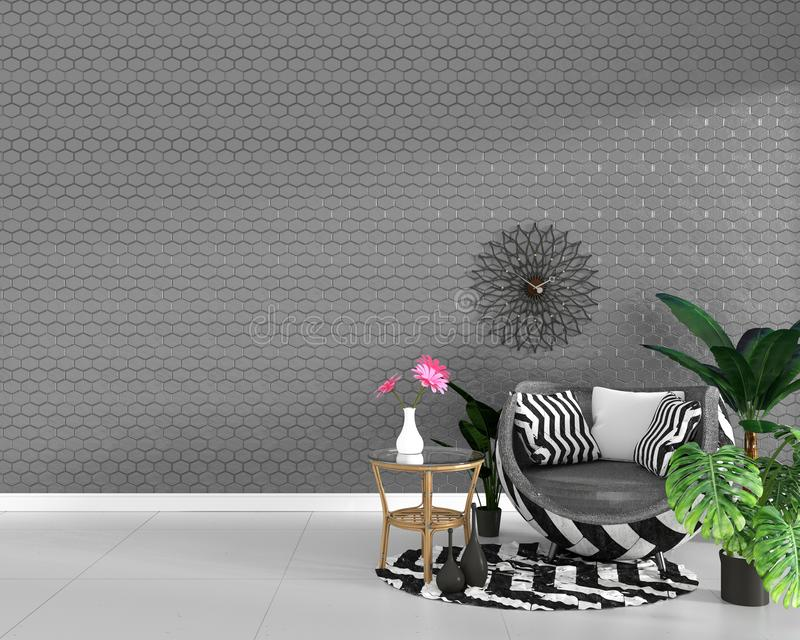 Modern living room interior with armchair decoration and green plants on hexagon gray tile texture wall background,minimal design royalty free illustration