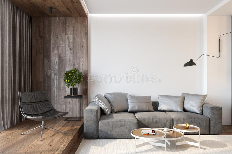 Modern living room interior with blank wall, sofa, lounge chair, table, wooden wall and floor. stock photos