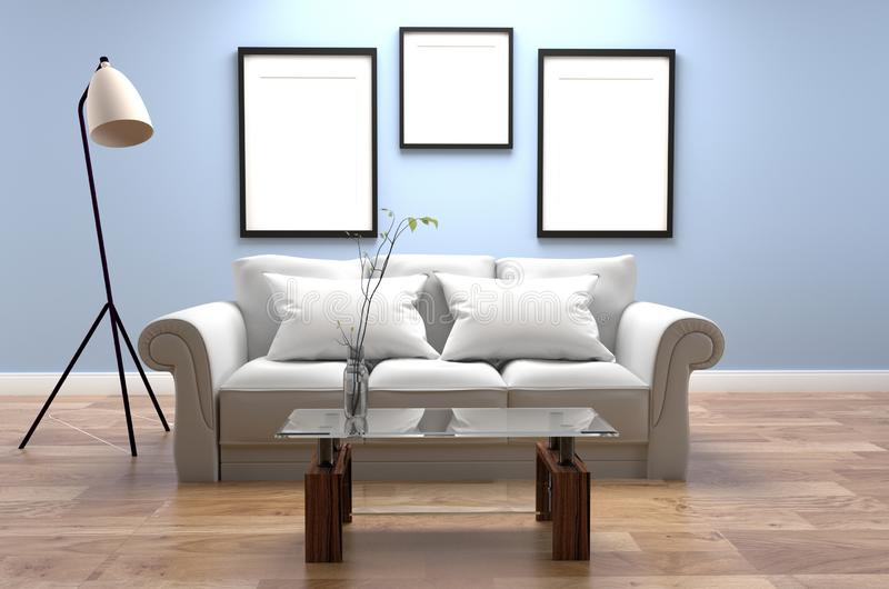 Modern Living Room Interior - Blue style and wooden floor and frames on light blue wall background - room with sofa and pillow. Mock up Modern Living Room stock illustration