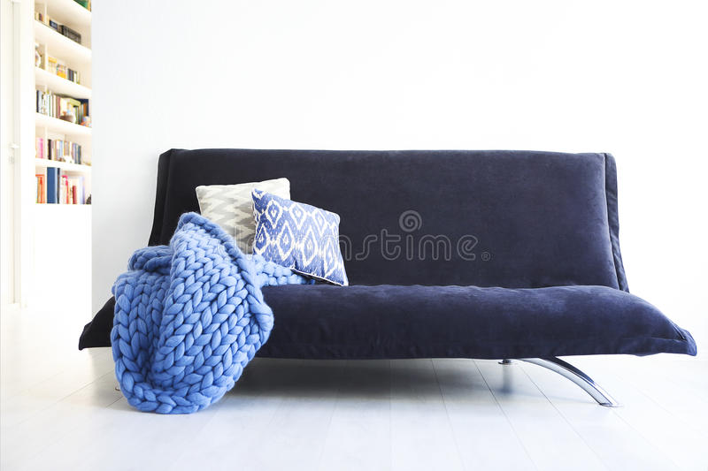 Modern living room interior in blue and white royalty free stock photography