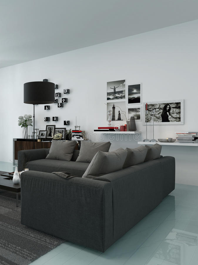 Modern living room interior stock photos
