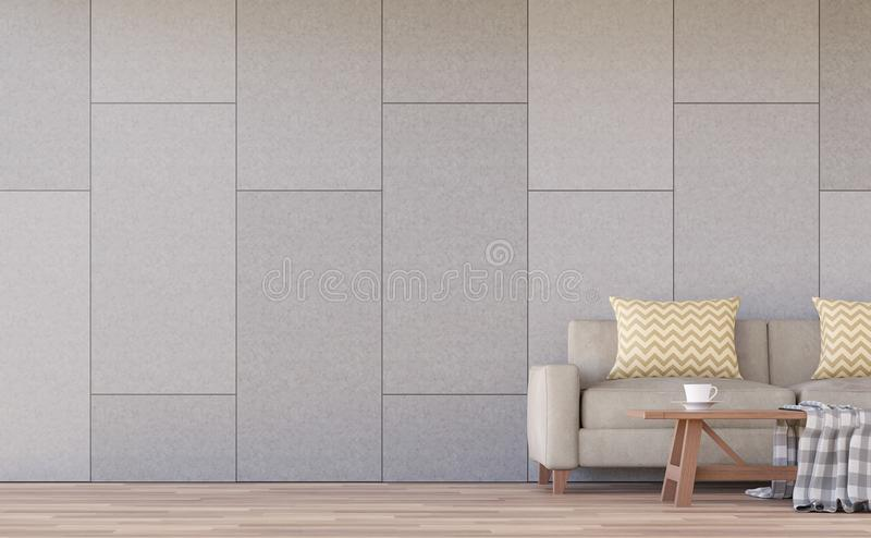 Modern living room interior 3d rendering image. The rooms have wooden floors.There are concrete walls grooved in the pattern of brick. Furnished with light stock illustration