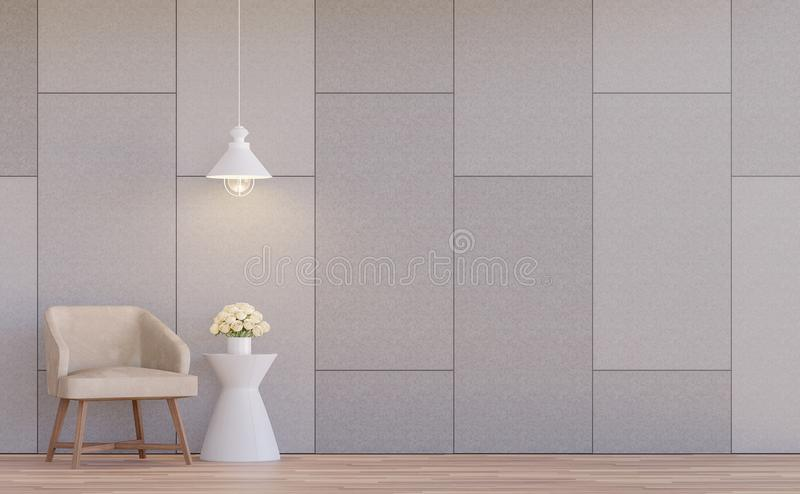 Modern living room interior 3d rendering image. The rooms have wooden floors.There are concrete walls grooved in the pattern of brick. Furnished with light vector illustration
