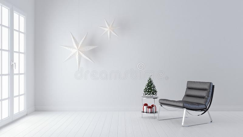 Modern Living room, interior design, Christmas decoration, new year, 3d render stock image