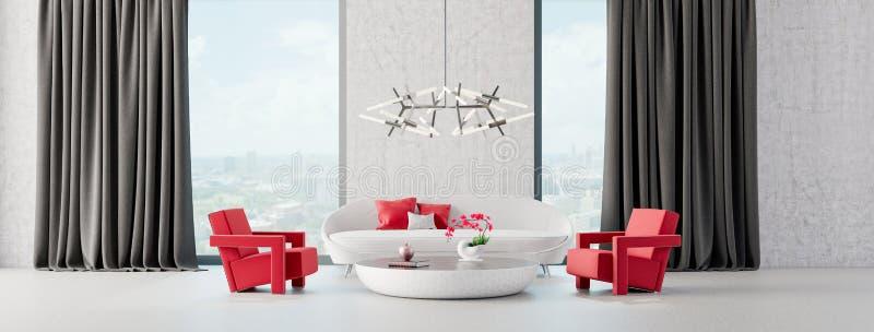 Modern Living room, interior design with concrete walls 3D Render vector illustration