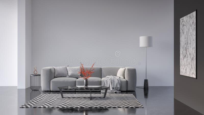 Modern Living room, interior design with green plants 3D Render stock illustration