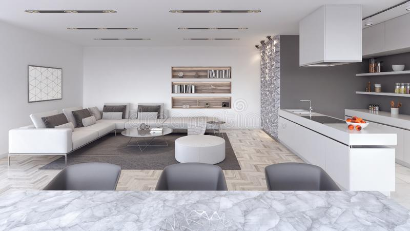 Modern Living room, interior design with kitchen 3D Render royalty free illustration