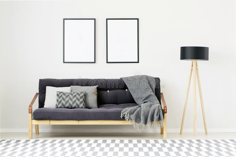 Modern room with empty posters stock photography
