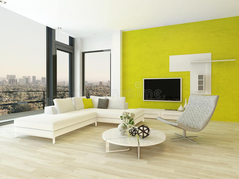 Modern Living Room Interior With Green Wall Stock Illustration ...