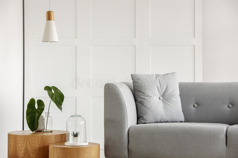 Modern room interior with grey sofa and wooden details stock images