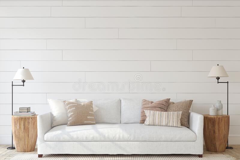 Modern living-room interior. 3d render stock image