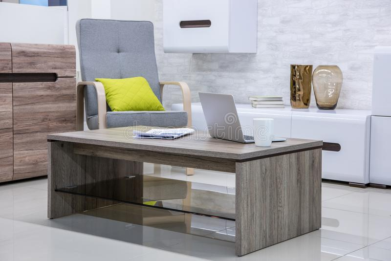 modern living room interior with laptop royalty free stock photos