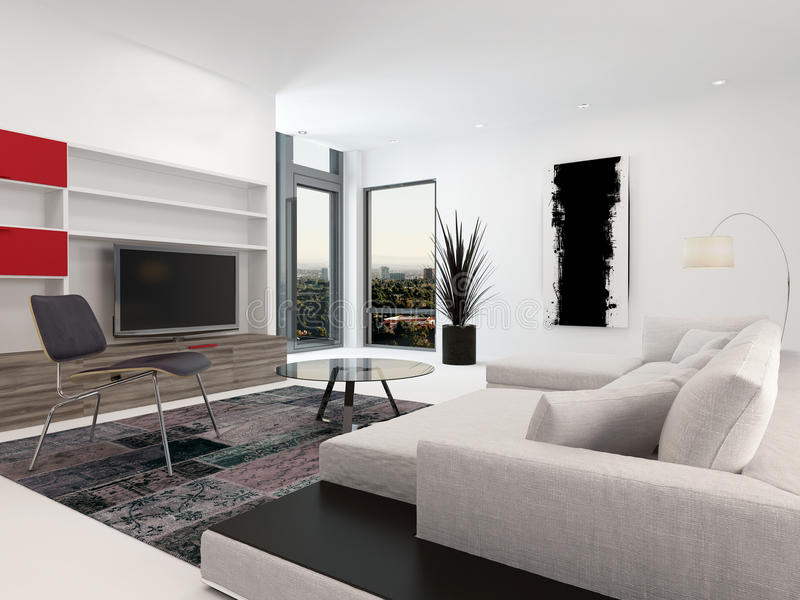 Modern living room interior with a large TV royalty free illustration