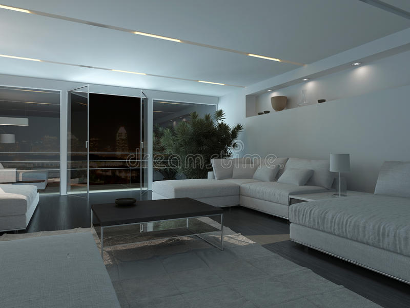 Modern living room interior at night royalty free stock images