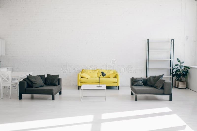 Modern living room interior, nobody stock image