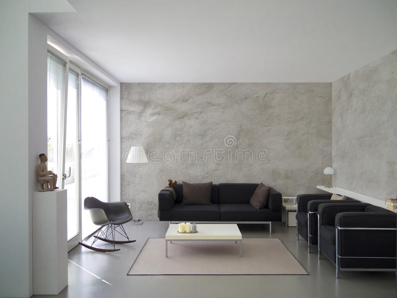 Attractive Download Modern Living Room Interior With Rough Cast Wall Stock Image    Image Of Ceiling,