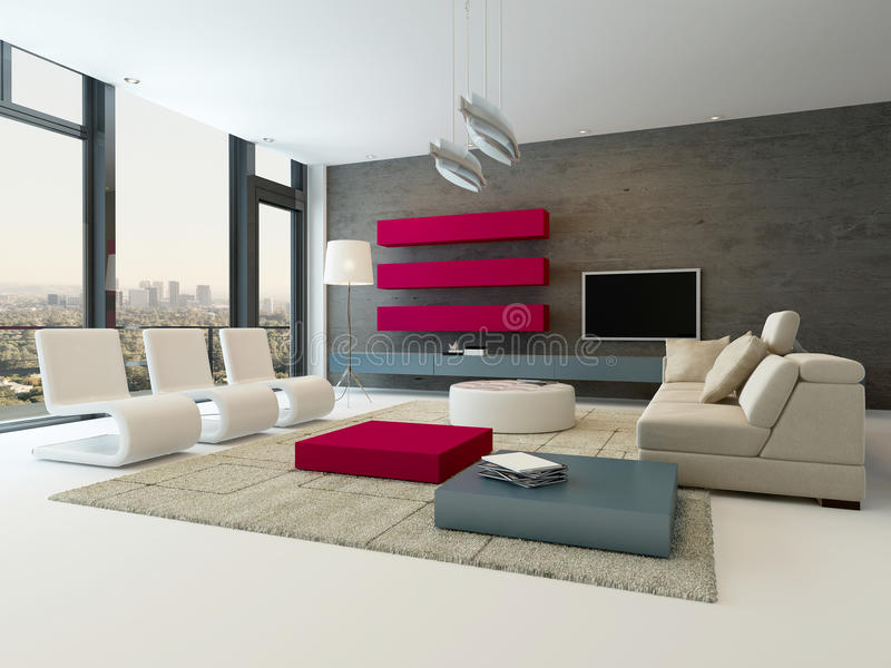 Modern living room interior with stone wall and red cupboard. Image of Modern living room interior with stone wall and red cupboard vector illustration