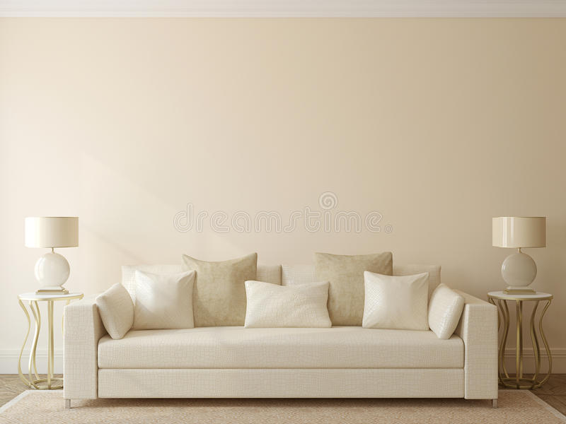 Modern living-room. Interior with white couch near empty beige wall. 3d render