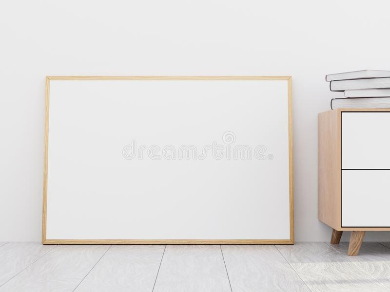 Modern living room interior with a wooden dresser and a horizontal poster mockup, 3D render stock photography