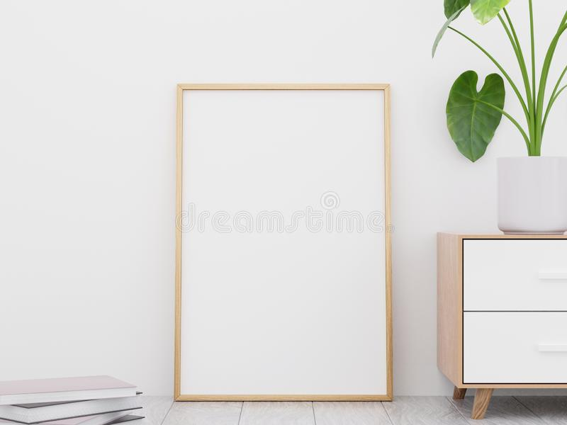 Modern living room interior with a wooden dresser and a poster mockup, 3D render stock photography