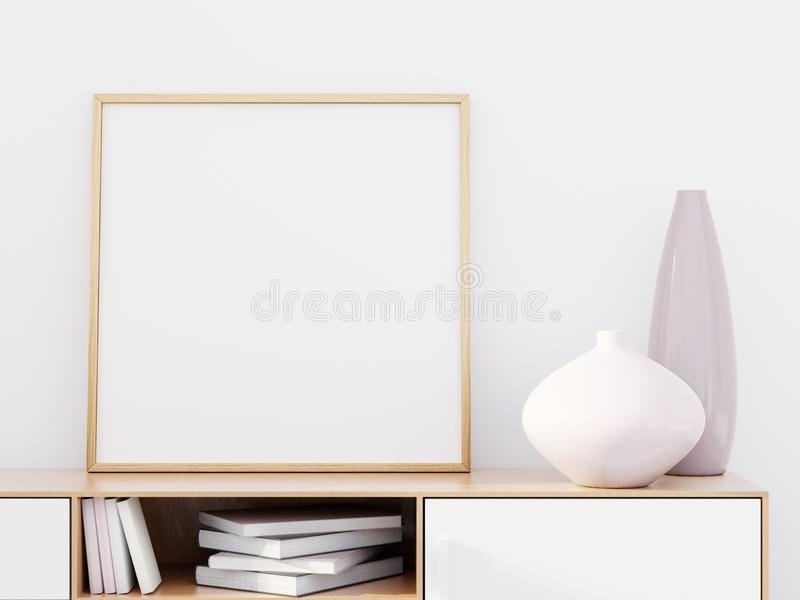 Modern living room interior with a wooden dresser and a poster mockup, 3D render stock images