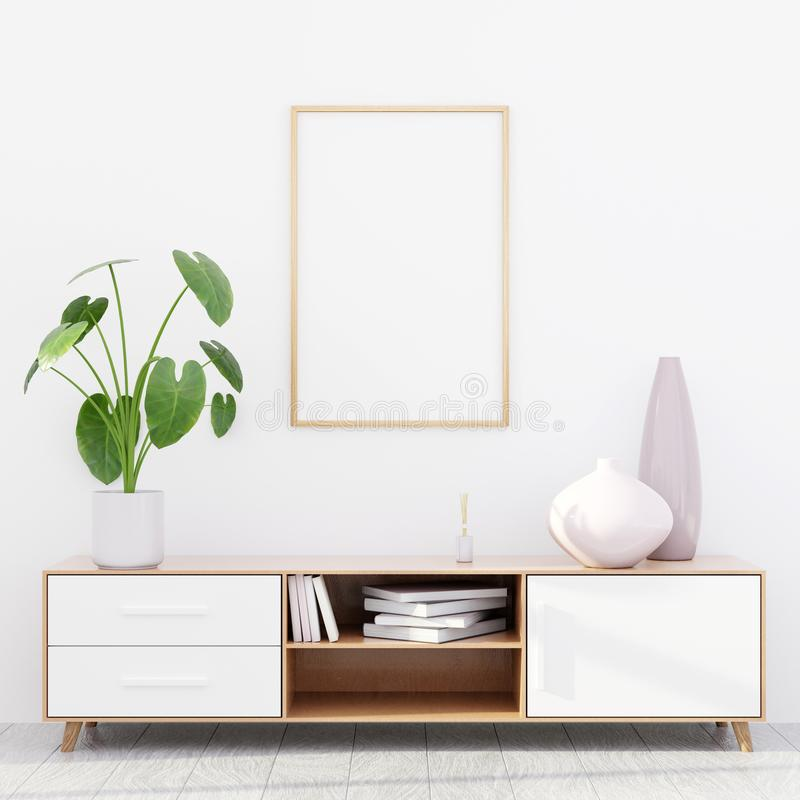 Modern living room interior with a wooden dresser and a poster mockup, 3D render royalty free stock photo
